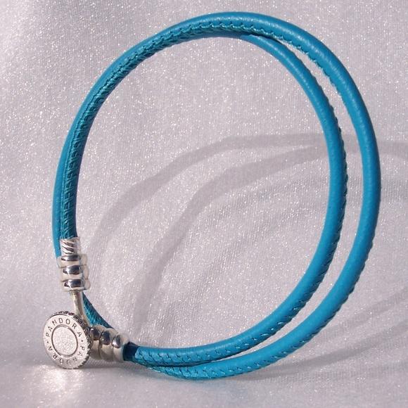 4c2e908c279c9 Pandora Turquoise Double Leather Bracelet Clear CZ